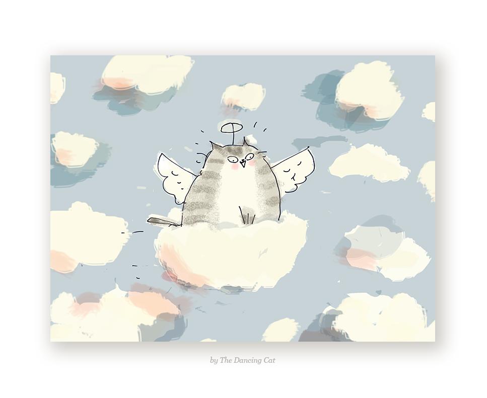 Cloud Ride - Cat Sympathy Card