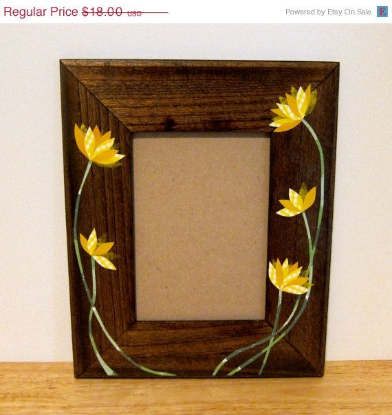 Wooden Picture Frame Decoupage Collage Flowers 5x7 by LaraLeib, $16.20