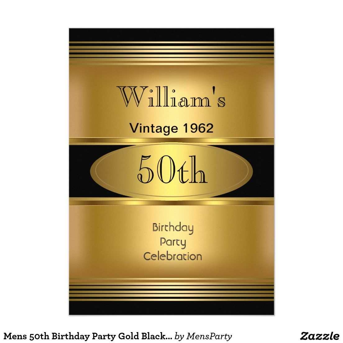 Mens 50th Birthday Party Gold Black Vintage Card | 50 birthday ...