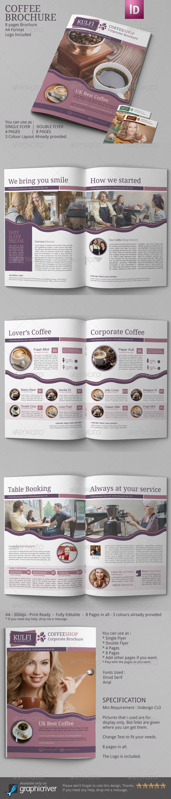 Coffee Brochure Template A  Brochure Template Brochures And A