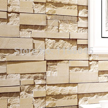 3d modern chinese stone brick pattern wallpaper wall sticker decoration for shop storefront restaurant living