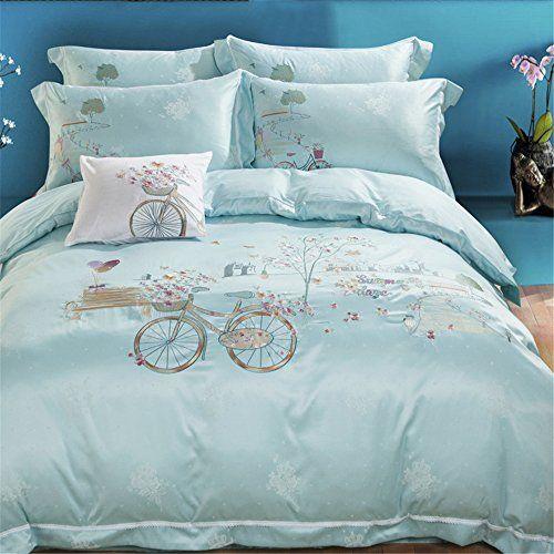Jardin Quilted Velvet Quilt Cover: DeMissir Romatic Bicycle Jacquard Cotton Duvet Cover Sets