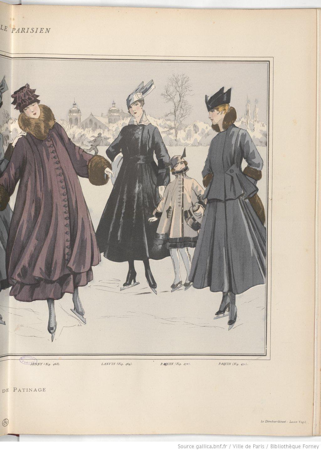 Ice skating, 1915