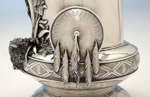 Detail of shield and bison head on the Joseph Heinrichs: The Aztec Vase Massive Antique Sterling Silver Vase, New York City, c. 1905