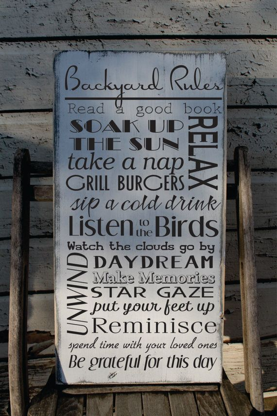 Backyard Rules Sign Custom To Your Yard And Your Happy