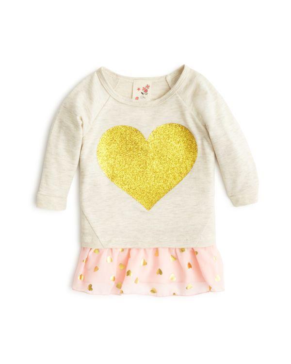 Lily Bleu Infant Girls' Glitter Heart Peplum Top - Sizes 12-24 Months