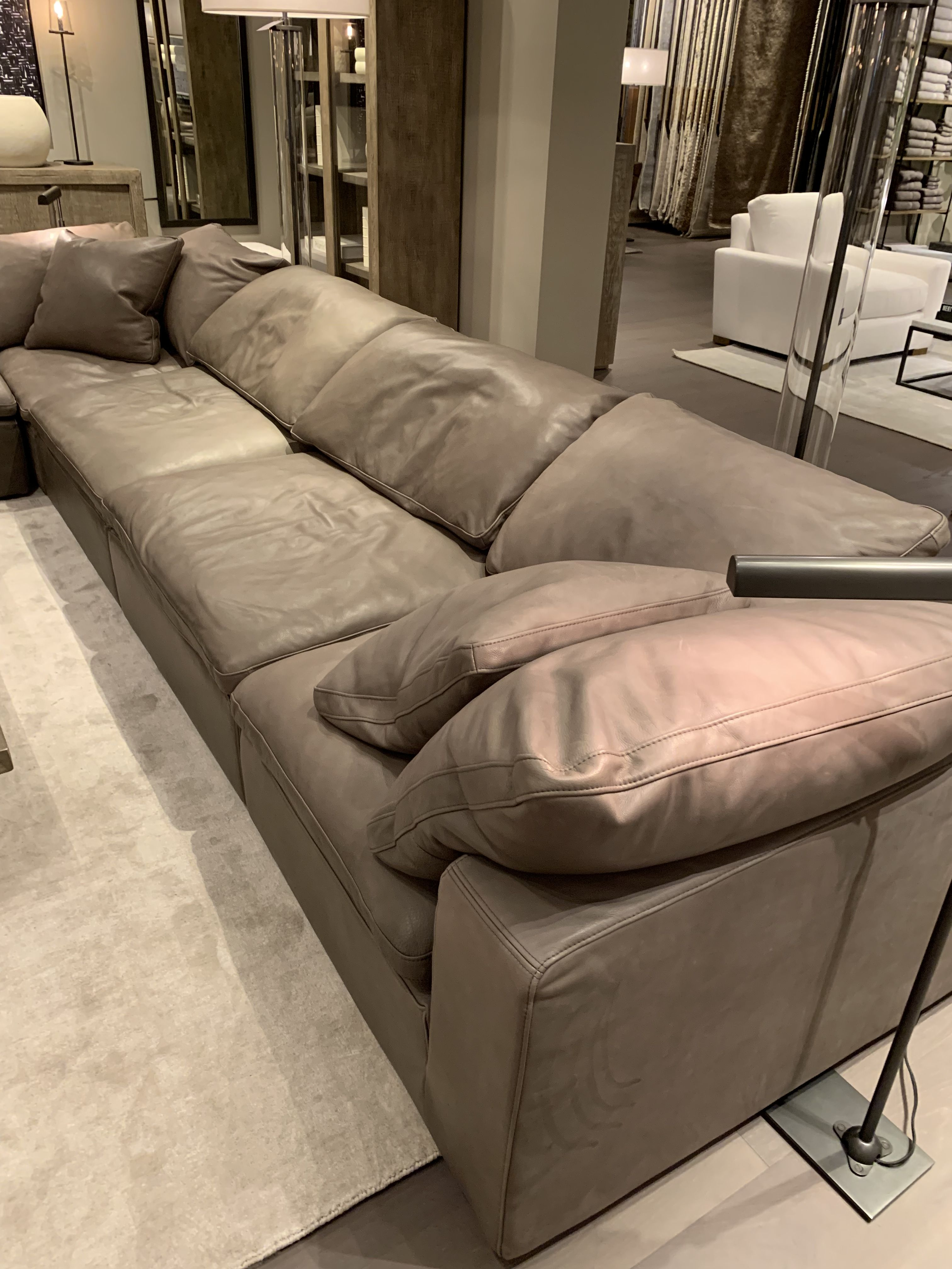 Rh Cloud Grey Leather Couch Leather Couch Grey Sectional Couch