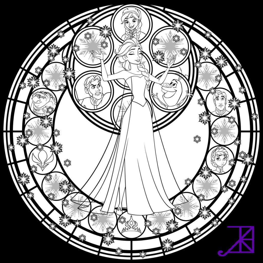 Elsa Stained Glass Line Art by Akili-Amethyst.deviantart.com on ...