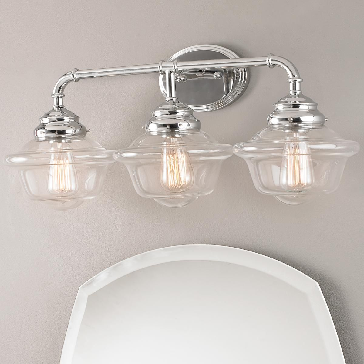 Timeless Schoolhouse Bath Light 3 Light Bath Light Bathroom Light Fixtures Chrome Vintage Bathroom Lighting