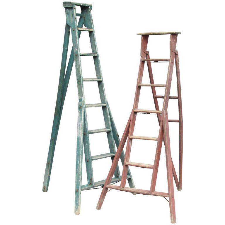 Three Leg Folding Orchard Ladders 1stdibs Com Ladder Vintage Ladder Antiques