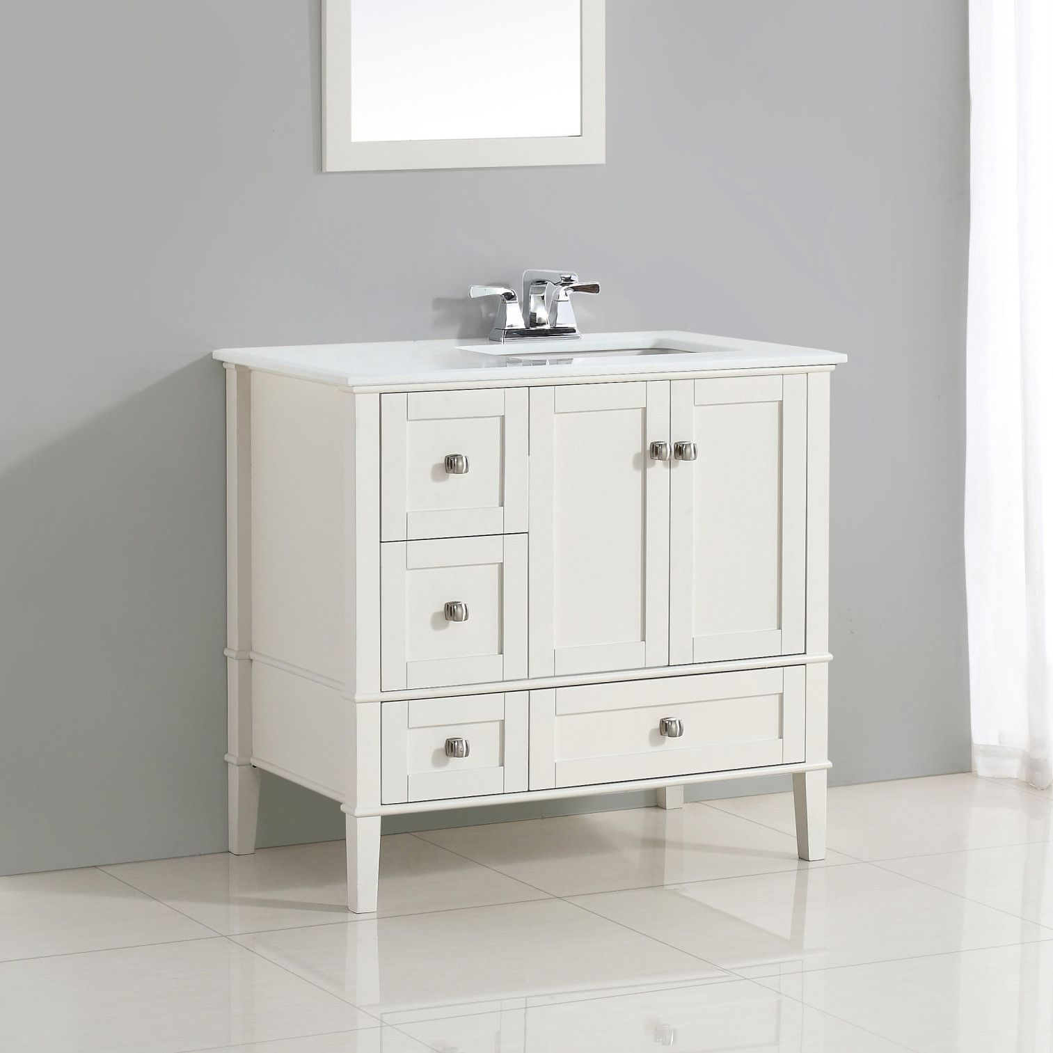 Simpli Home Chelsea 37 Single Right Offset Bath Vanity Set White Vanity Bathroom Single Bathroom Vanity Vanity