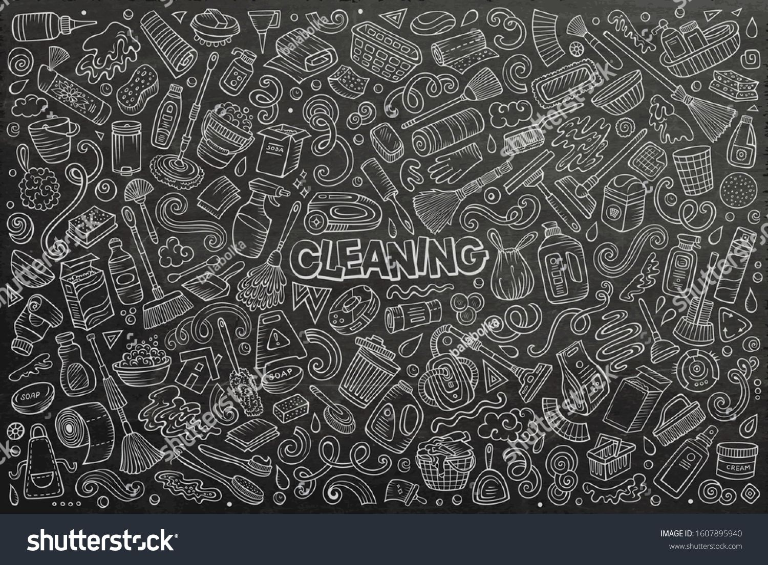 Line art vector hand drawn doodle cartoon set of Cleaning theme items, objects and symbols #Sponsored , #Ad, #hand#drawn#doodle#Line