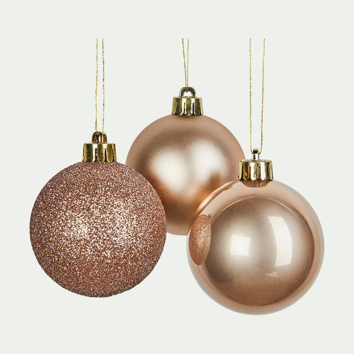 Lot de 10 boules de Noël en verre beige D6cm - BINAN - lots de boules de Noël