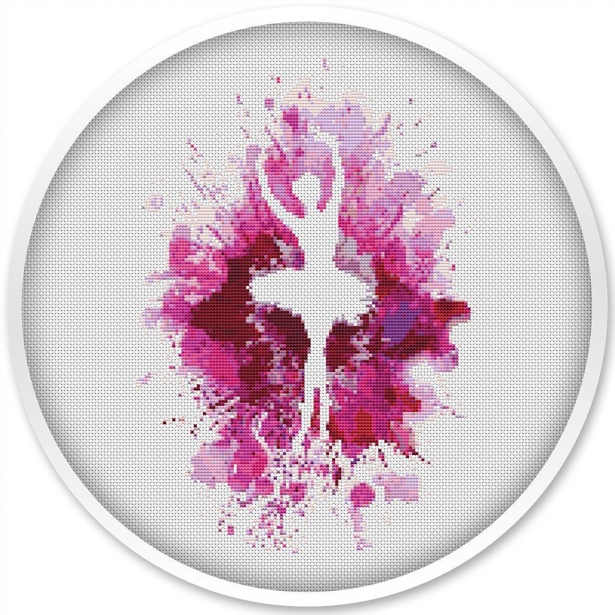 Ballerina Cross Stitch Pattern Free Shipping Watercolor Cross