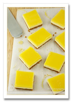 Quark Cheesecake Squares topped with Tart Lemon Curd