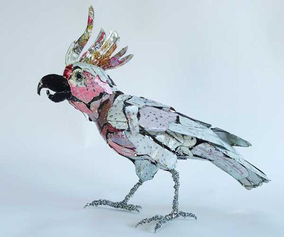Bird Sculptures Made From Recycled Objects By Barbara Franc