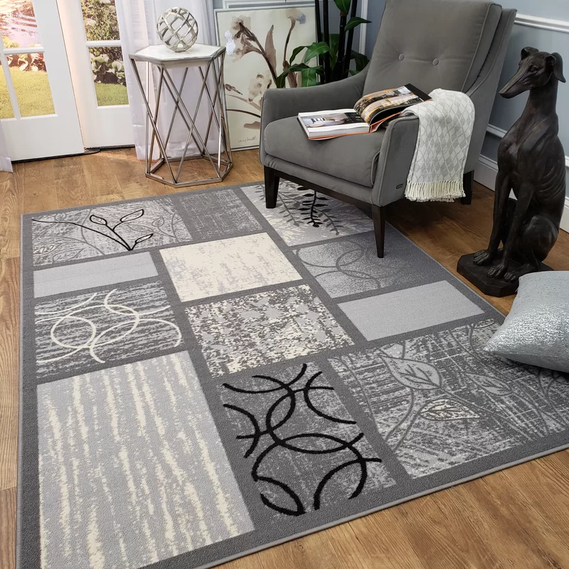 Blandi Frame Boxes Rubber Backed Gray Area Rug Area Rugs Grey