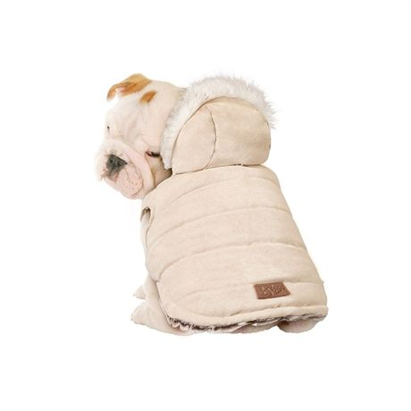 Wrap your pet in wrap and style. This fashion forward hooded faux suede to long fur coat features underbelly snaps for easy dressing. Keep your pet warm in the cooler months and fashionable all year round.