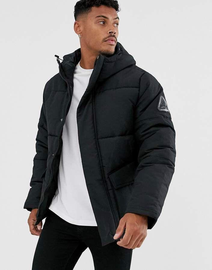Topman puffer jacket in blac