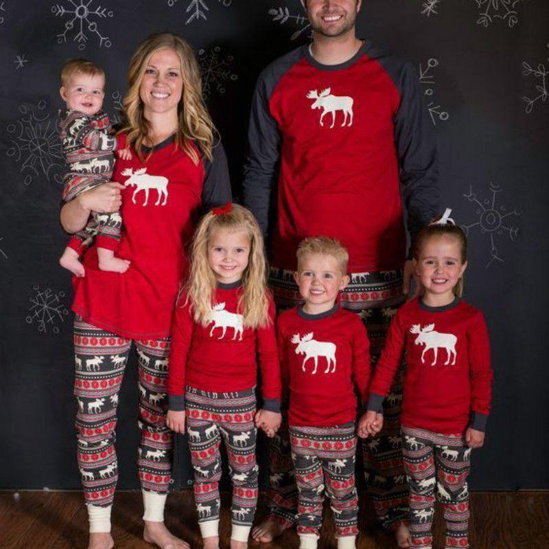 Family Matching Outfits Set Christmas Pajamas Deer Adult Women ...