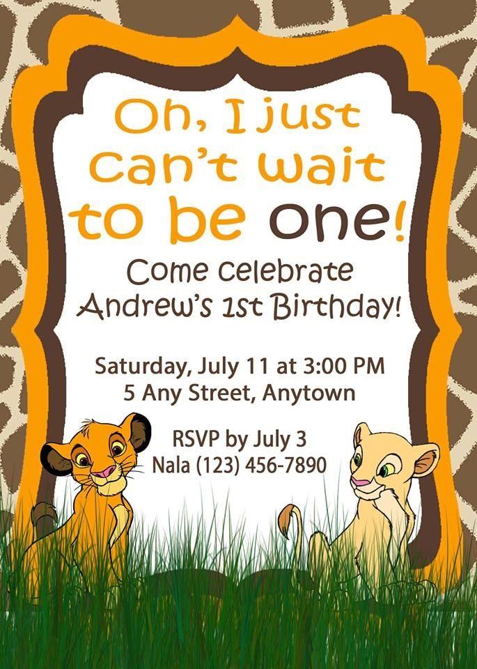 Simba Lion King Birthday Invitation Birthdays Pinterest