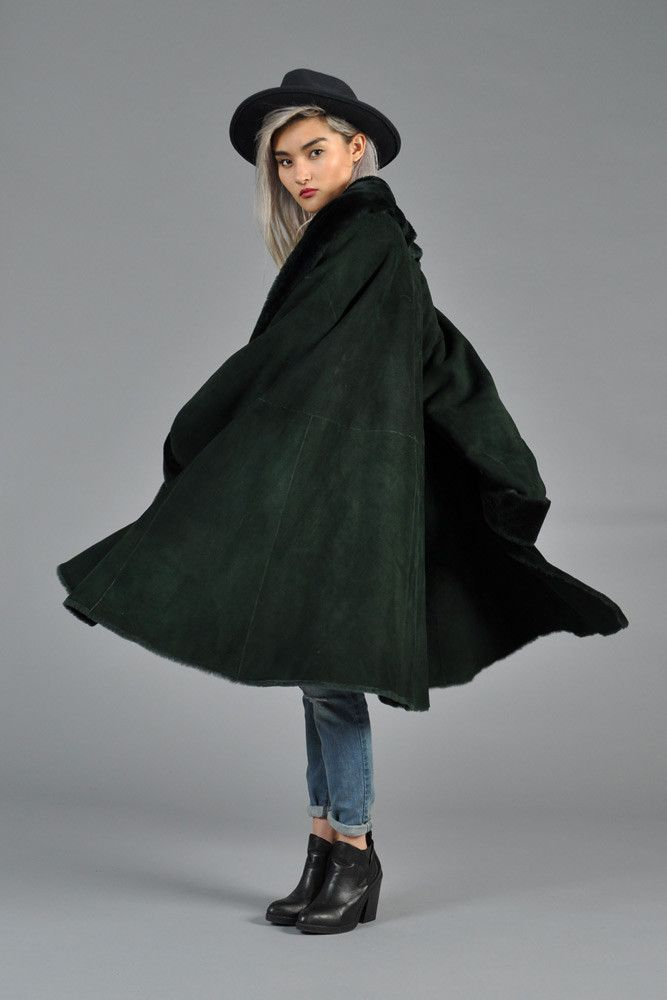 Christian Dior Reversible Green Shearling Swing Coat | BUSTOWN ...