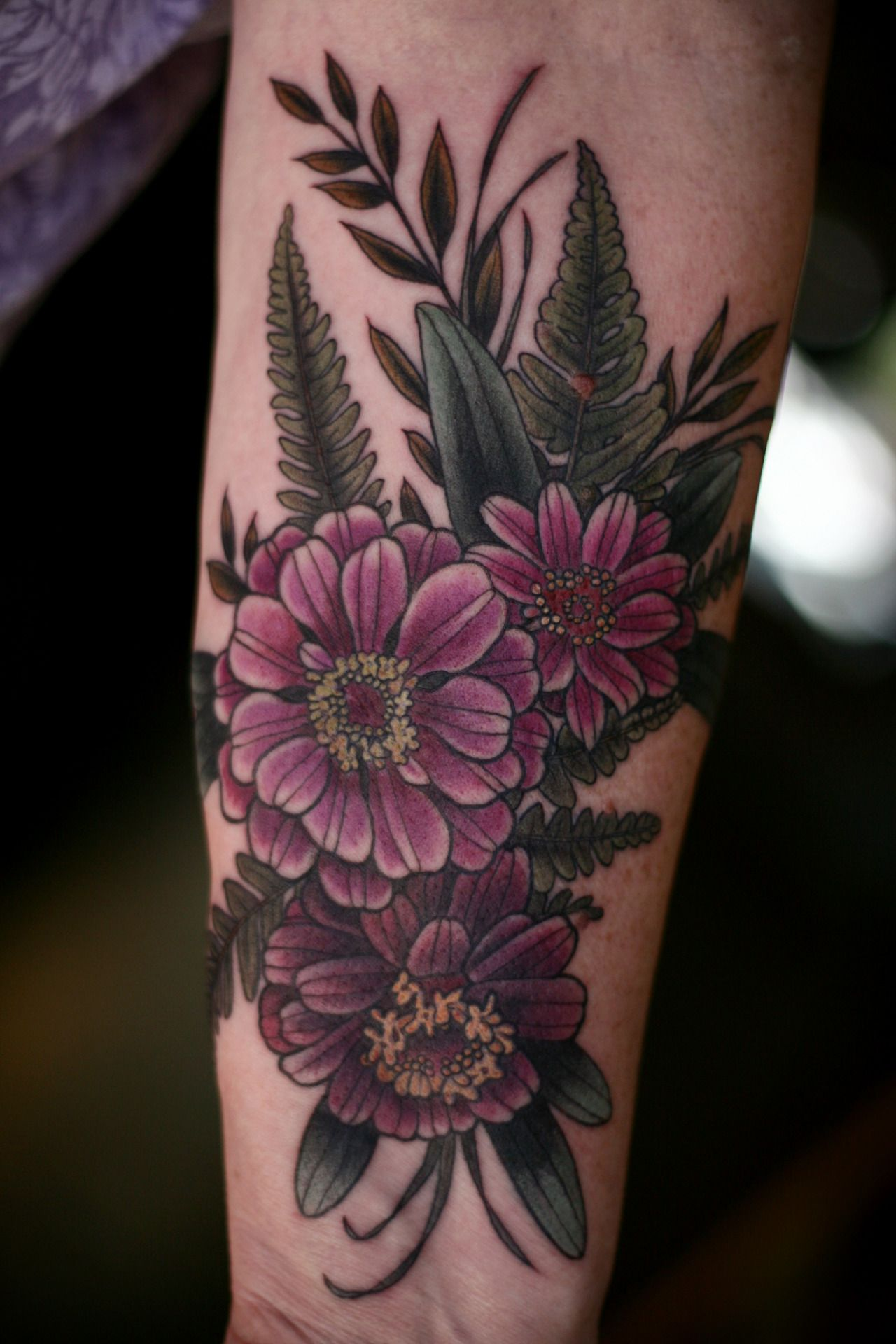 Zinnias And Ferns By Alice Kendall Tattoos Wonderland Tattoo Body Art Tattoos