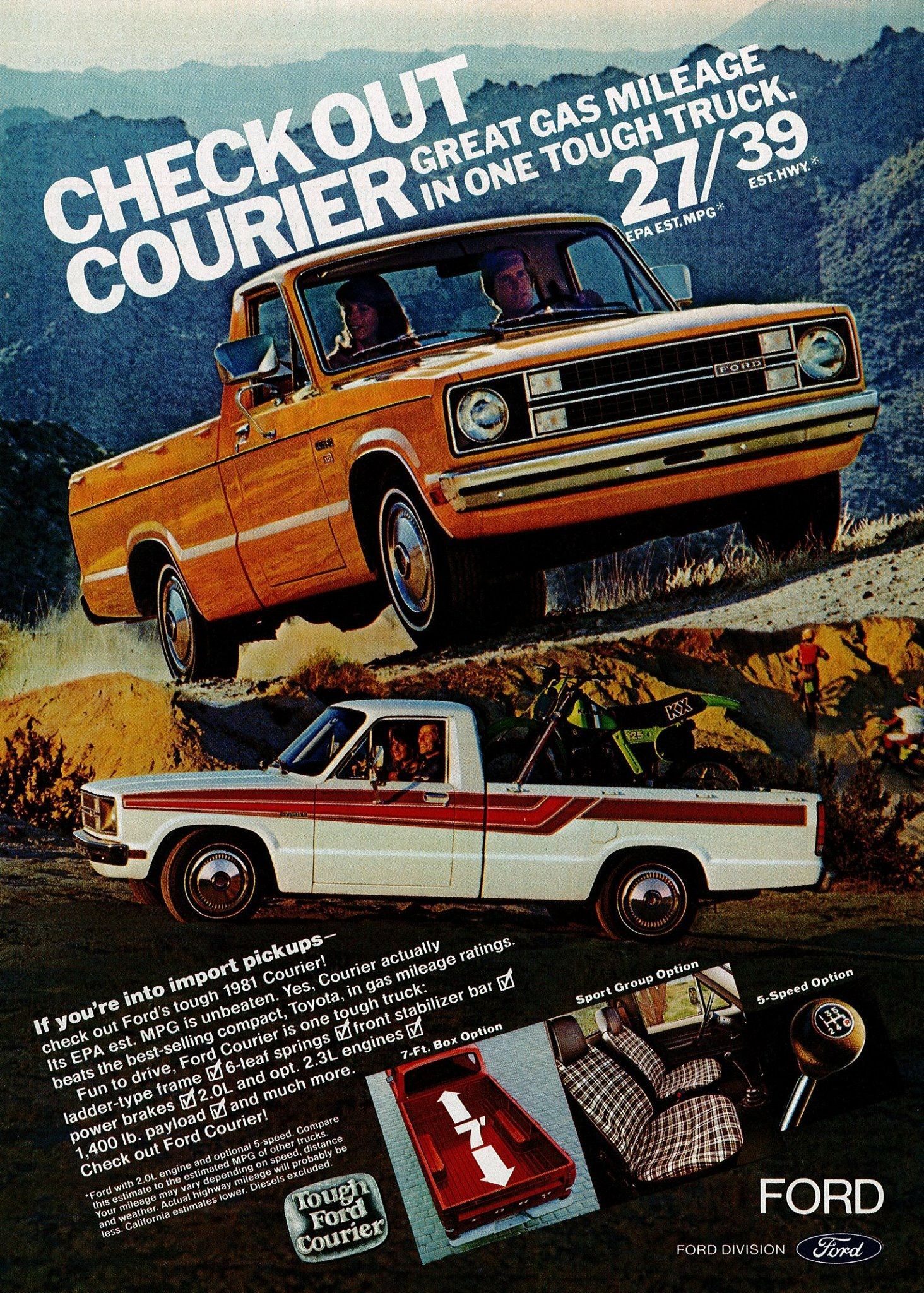 1981 Ford Courier Truck Pickup USA Version Brochure Mazda