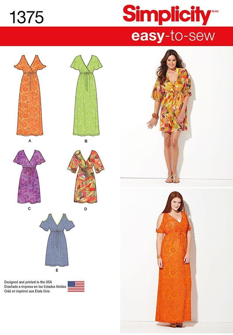 Simplicity Pattern 1375 Plus Size Woman S Pullover Dress Empire Waist V Neck Uncut Sewing Dresses Plus Size Sewing Patterns Dress Sewing Patterns [ 1143 x 795 Pixel ]