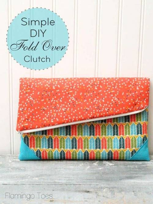 Simple Fold Over Clutch - Free Sewing Tutorial | Simple diy