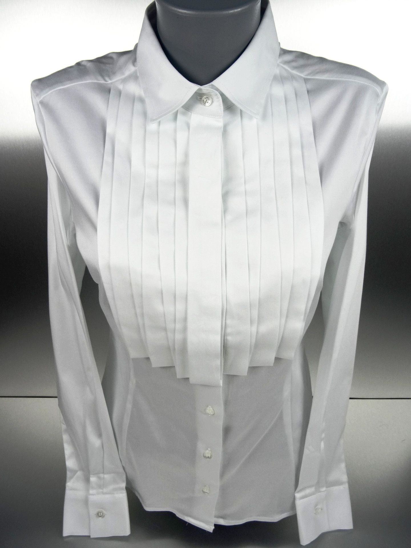 White Blouse with Pleated Plastron