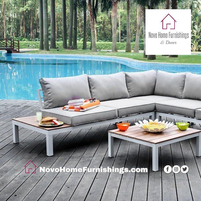 Novo Home Furnishings Decor On Instagram Winona Patio Sectional W Table Gray Cushion Soak Up With Images Contemporary Patio Patio Sectional Outdoor Sectional Sofa