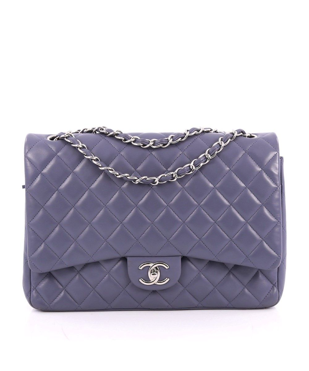 4dfbfa51d525 Chanel Pre-Owned: Classic Double Flap Bag Quilted Lambskin Maxi ...