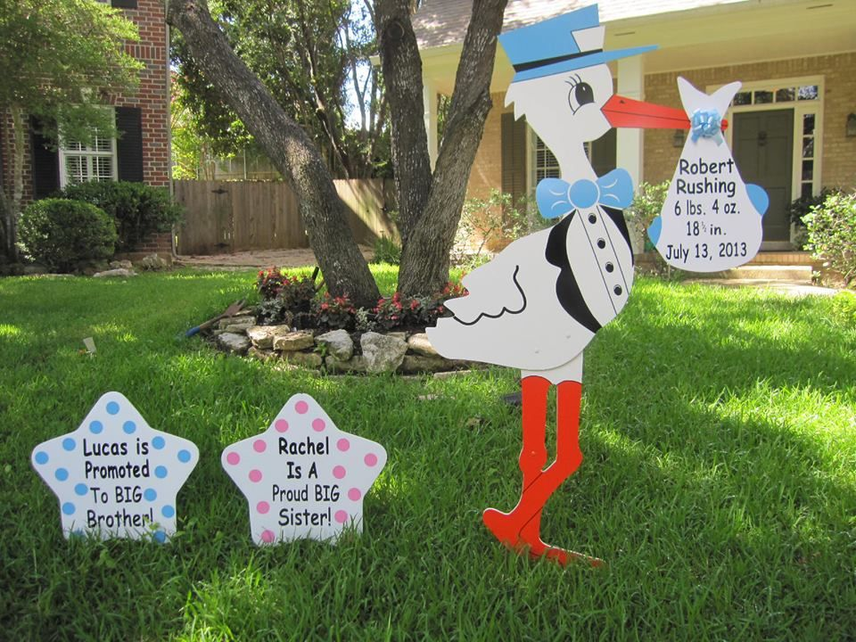 Our stork lawn sign birth announcements welcome new baby home and – Colorado Springs Birth Announcements