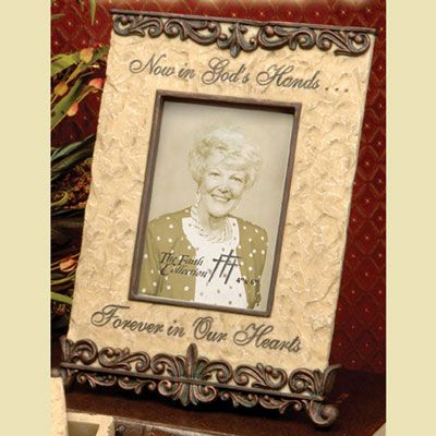 now in gods hands bereavement photo frame