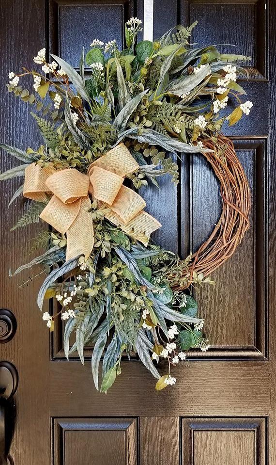 Photo of Wreaths for Front Door, Spring Wreath, Front Door Wreath, Everyday Wreath, Rustic Wreath, Greenery W