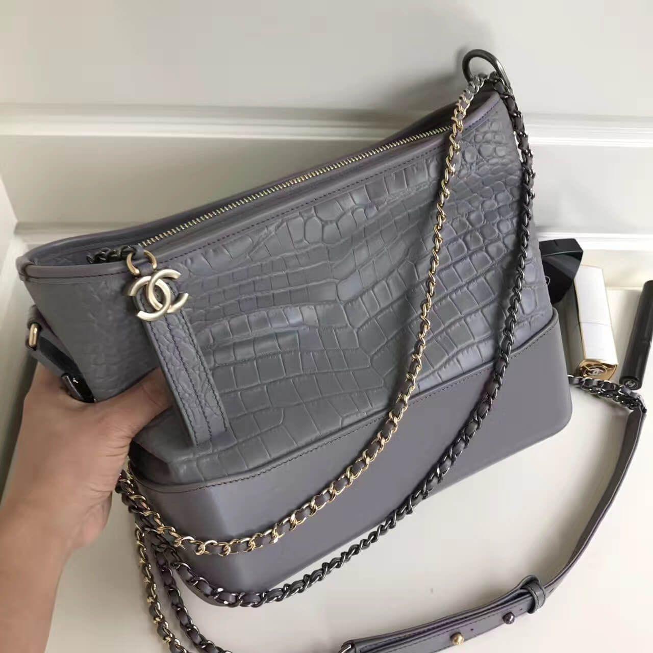 b34e9a6b2210 Chanel Gabrielle Medium Hobo Bag in Crocodile Pattern Calfskin A93824 Grey  2017