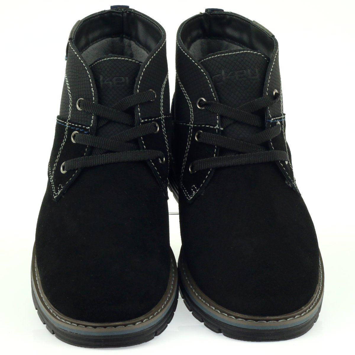 Sztyblety Meskie Mckey Mckey Czarne Trzewiki Meskie Zamszowe Wiazane 284 Chelsea Boots Men Ankle Shoes Suede Leather