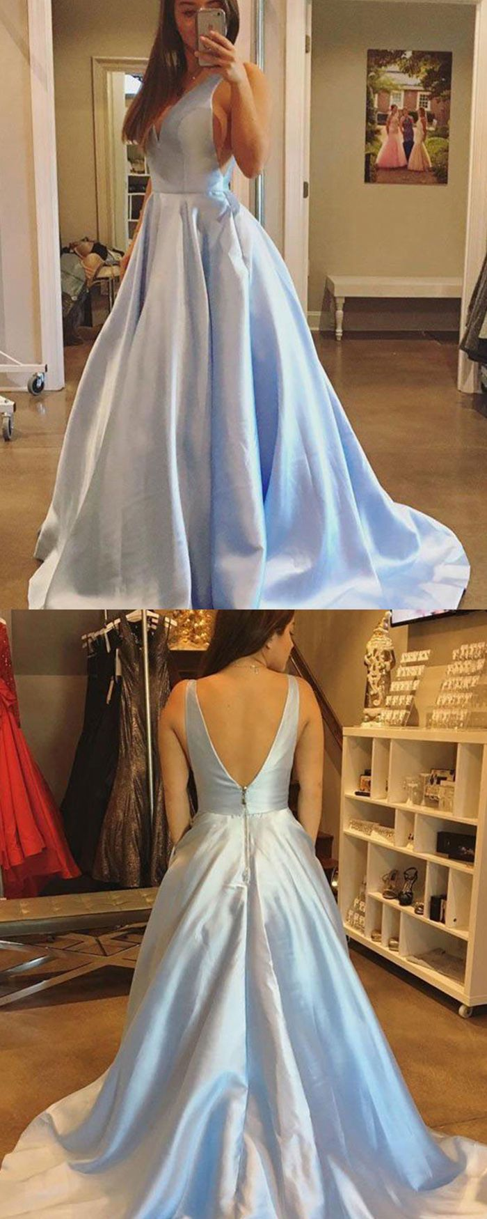 Simple vneck light blue satin ball gown prom dress pm long