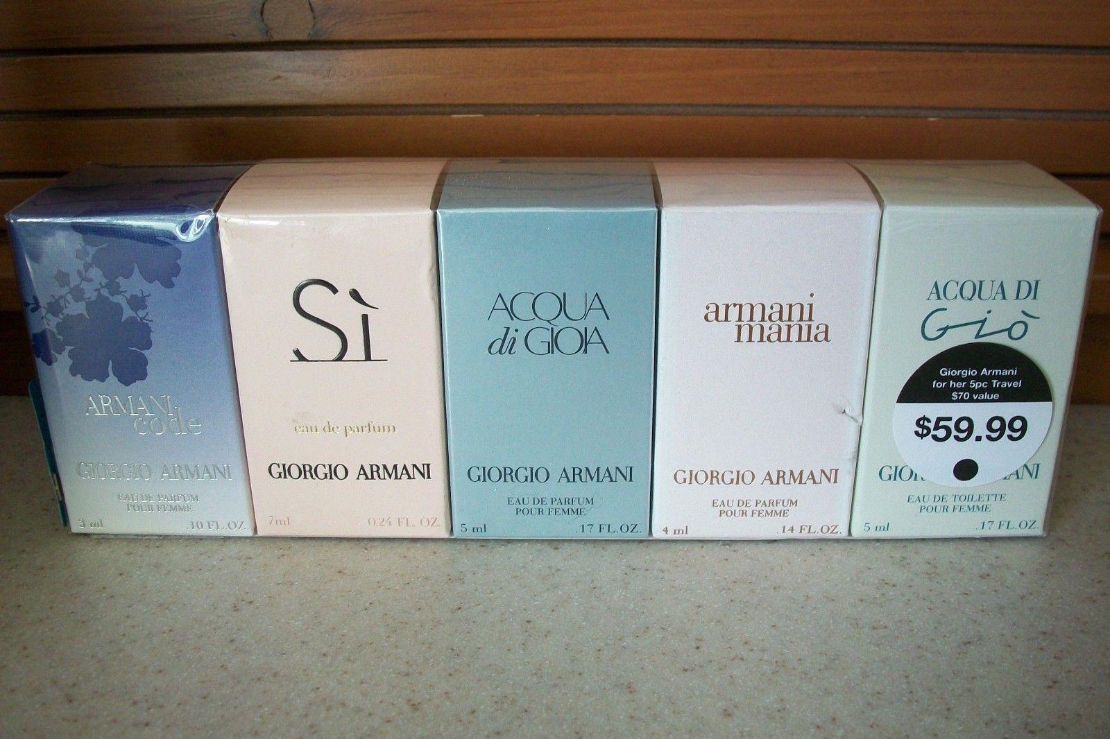5995 Georgio Armani For Her 5pc Parfum Edt Travel Set New Sealed