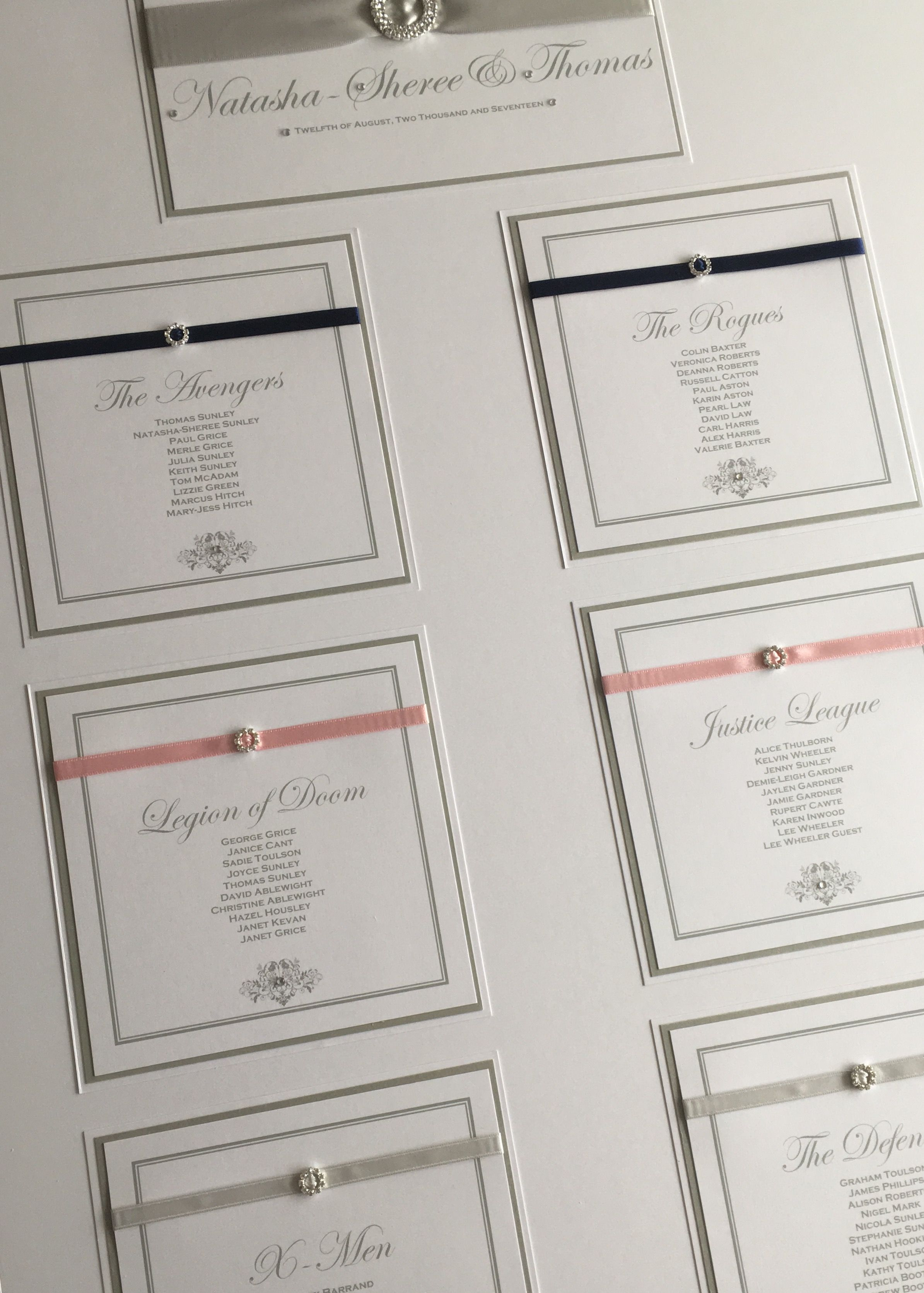 Themed Wedding Table Plan in white, pink, navy blue and silver ...