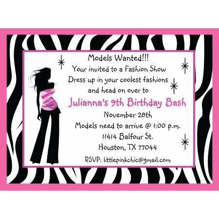 Image detail for -fashion show birthday invitation, fashion birthday - birthday invitation model