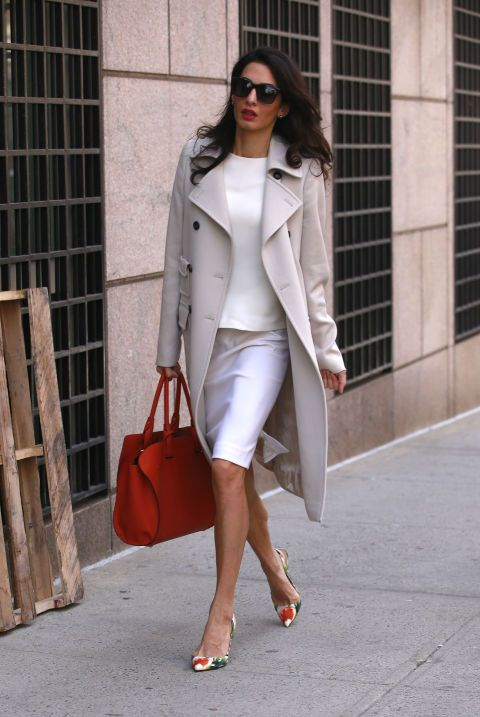 Walking by Columbia University in New York City. See all of Amal Clooney's  best looks