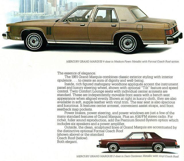 1981 Mercury Grand Marquis 4 Door Sedan And Coupe Grand Marquis Mercury Grands