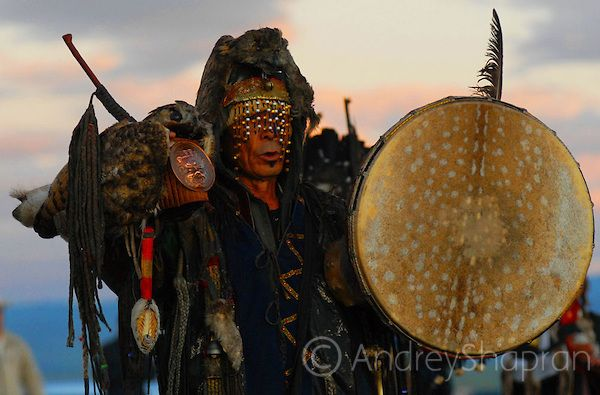 Tuva shaman and drum