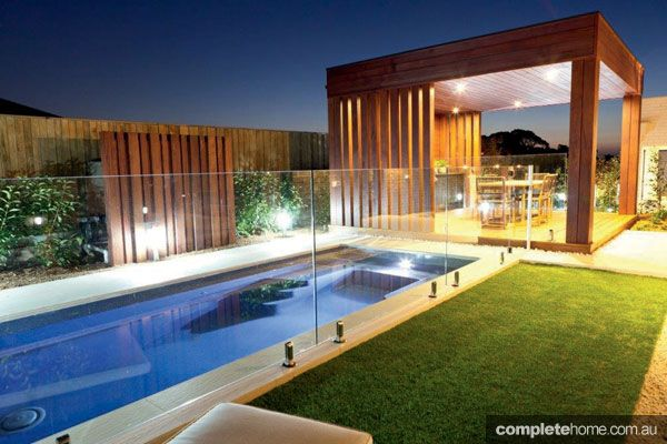 Modern timber cabana landscape design outdoor rooms for Outdoor cabana designs