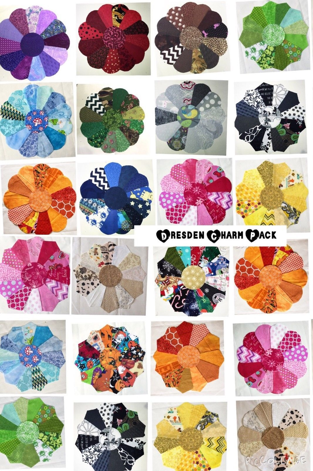 26 Dresden Plate Shape PATCHWORK CHARM Packs Bundle 100/% COTTON Quilting Fabric