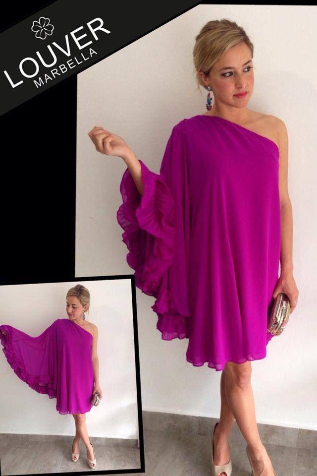 moda#louvermarbella#vestido#malva#volante#asimetrico# | Louver ...