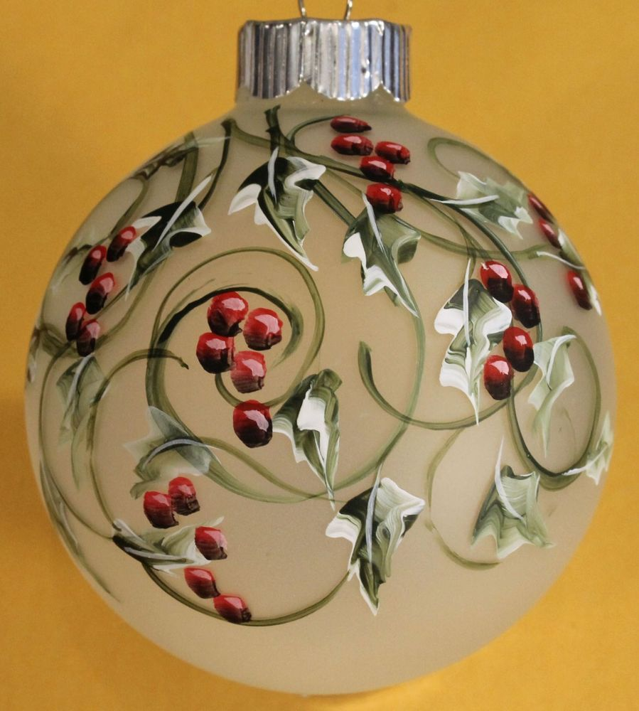 Frosted Holly Glass Christmas Ornament Hand Painted And