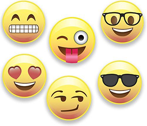Emoji Magnets Set Of 6 Different Emojis Faces 125 Inch Super Cute Round Magnets For Home Office Fridge Lockers Or Party Favors Made In Usa Check Emoji Magnet